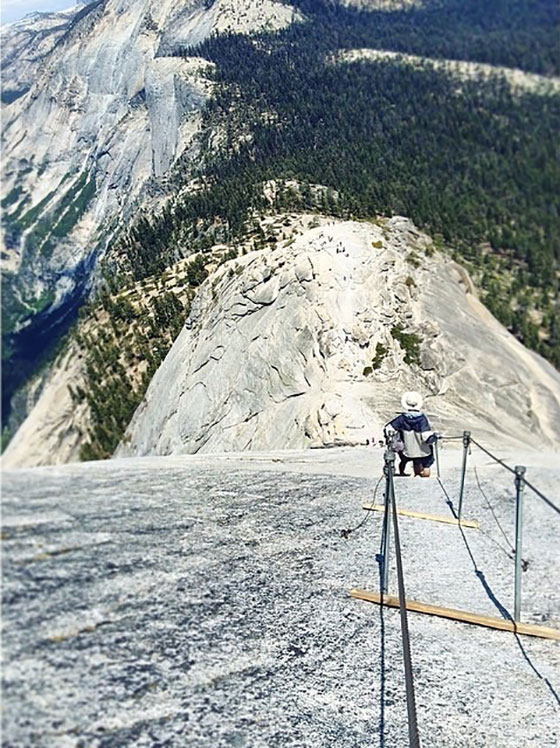 down the cables of half dome