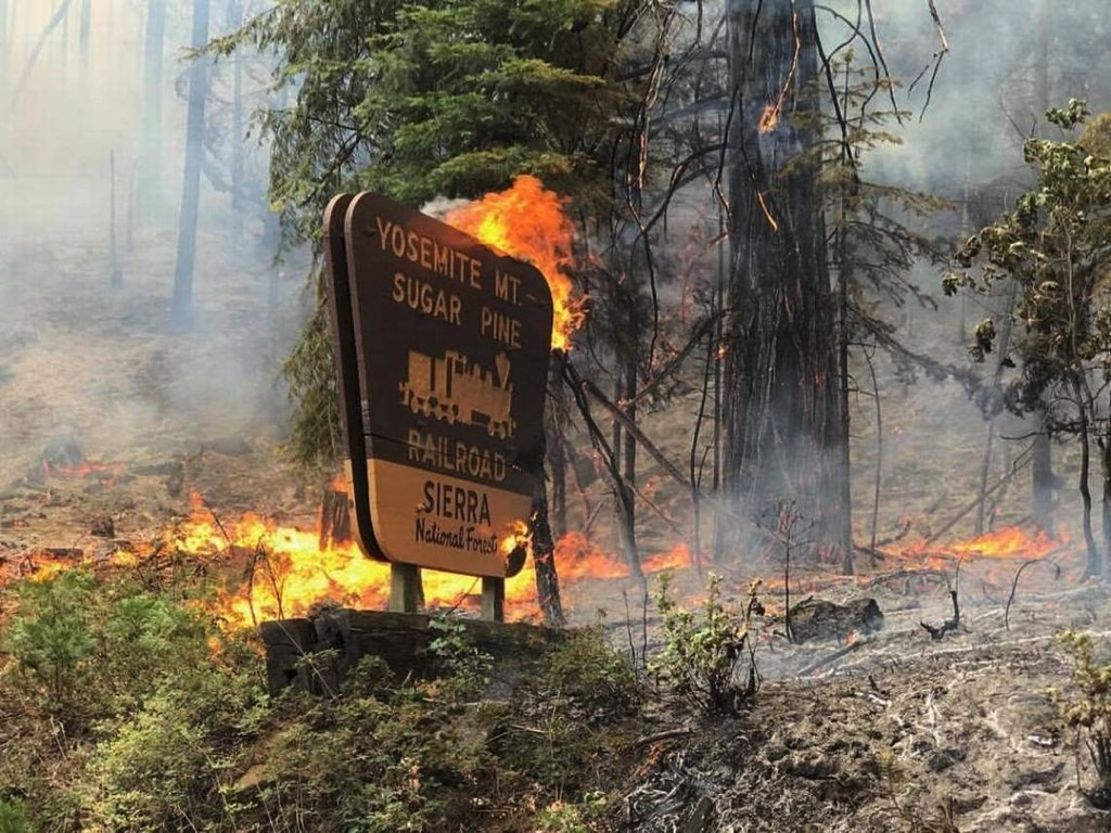 Yosemite Sugar Pine Railroad Sign Burns as Railroad Fire Spreads Just South of Yosemite